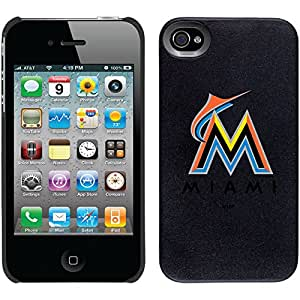 Coveroo Thinshield Snap-On Case for iPhone 4s/4 - Retail Packaging - Black/Miami Marlins MLB Primary Logo