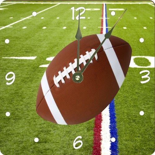"""Rikki Knighttm Football On Red White & Blue Field Design 13"""" Art Wall Clock front-644884"""
