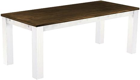 Brasil 'Rio' 208x 90cm, Antique Pine Wood Tone Oak Furniture Dining Table–White