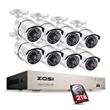 ZOSI Full HD 1080P PoE Video Security Cameras System,8CH 1080P Surveillance NVR, 8x2.0 Megapixel Outdoor Indoor Weatherproof IP Cameras, 100ft Night Vision with 2TB Hard Drive, Power over Ethernet (Color: 2MP POE 8Cameras System With HDD, Tamaño: 8CH+8Cameras+2TB)