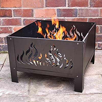 Gardeco Oban-61-fire Large Square Oban Fire Pit With Flames Cut Out Includes Mesh Guard - Black by Gardeco