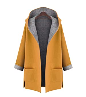 Womens Classic Open Front Hoodie Woolen Blends Lightweight Trench Coat Cardigan Yellow 3XL