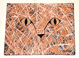 MODERN ABSTRACT ART CAT PAINTING TITLED: HERE, KITTY, KITTY, KITTY!