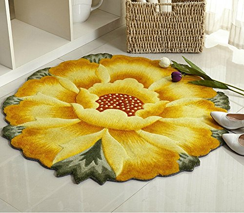 M&G House® Sunflower Round Rug Mats Computer Chair Mat - Yellow Flowers Design Bedroom Washable Antiskid Carpet/Area Rug 35.5 X 35.5 inch
