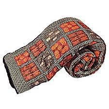 Little Jaipuri algodón bloque de mano India Razai granate de funda de edredón para cama de matrimonio