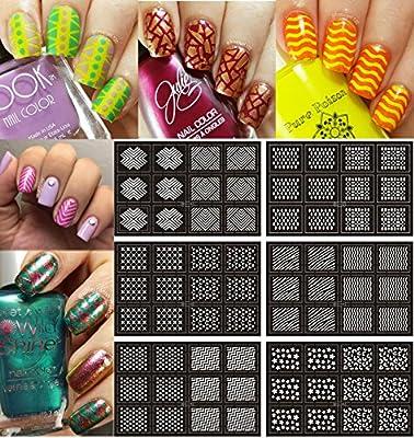 Ejiubas 12 Pcs 24 Different Designs Easy Nail Art Nail Vinyls Nail Stencil Sheets Stencil Stickers Set