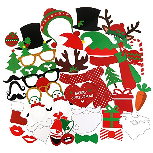 tinksky-38-pieces-christmas-photo-booth-props-kit-for-party-supplies-featuring-glasses-moustache-red