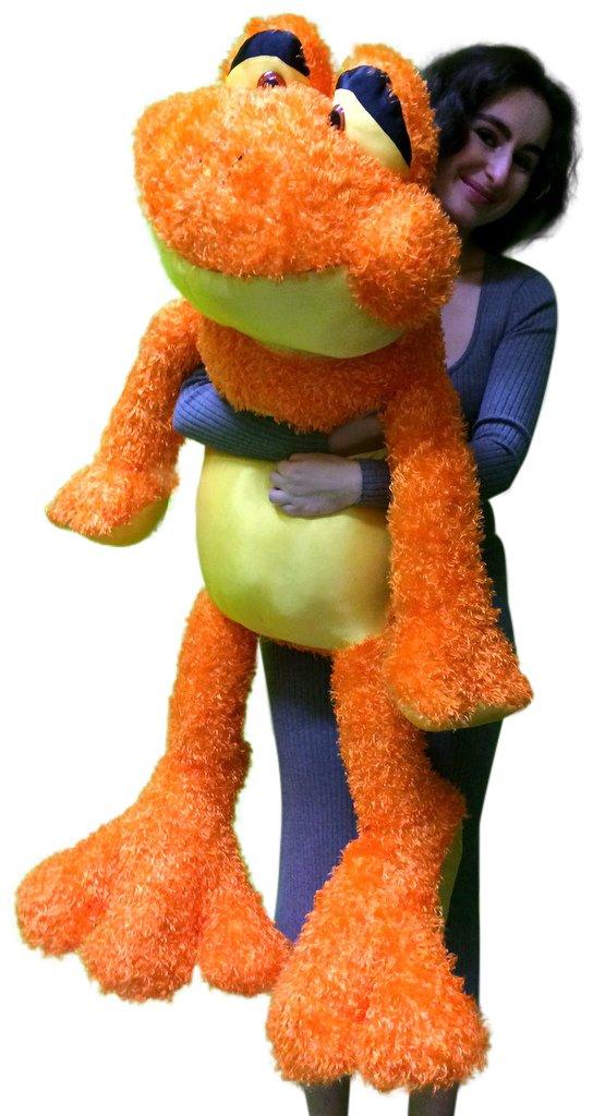 Very Large Stuffed Frog Orange and Yellow