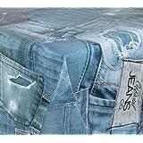 WACHSTUCH TISCHDECKE abwischbar Meterware, Größe wählbar, 1000x140 cm, Glatt Blue Jeans
