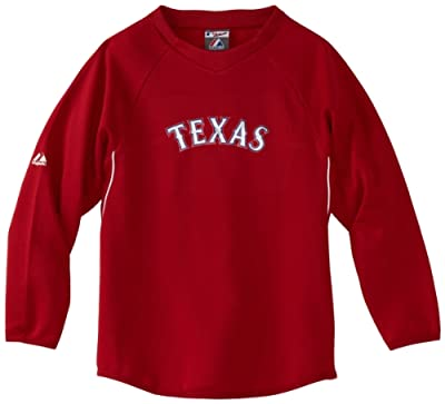 MLB Texas Rangers Long Sleeve Crew Neck Thermabase Tech Fleece Pullover Boys'