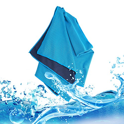 Evaporative Cooling Towel, Vancle® Snap Cooling Towels for Sports and Fitness in Hot Environment (Blue)