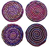 Cotton Craft Hand Woven Reversible Jute & Cotton Multi Chindi Braid Placemat 4 Pack - 16 IN Round - Placemat made from multicolor re-cycled yarns, actual product may vary in color from the image shown