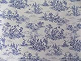 Vintage French Lovers Scenes Toile De Jouy Navy Beige Cotton High Quality Fabric Material Sold By The Metre