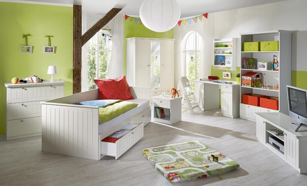 Umbaubares Tagesbett in weiß mit weiß lackierten, gefrästen MDF-Fronten, silberfarbenen Metallgriffen, 2 Schubladen, Lattenrost, 90/180x200cm