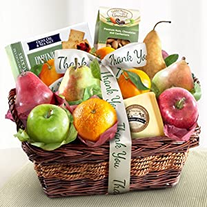 Thank You Fruit Basket with Cheese and Nuts