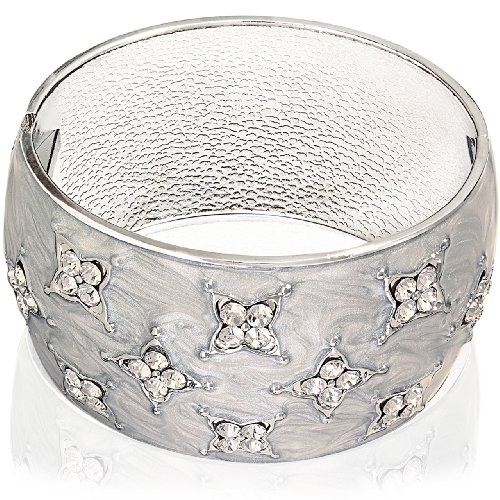 Hinged Bangle Bracelet-Ash Gray with Clear CZ Stones Accent