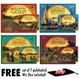 The Settlers of Catan, Seafarers, Cities and Knights, Traders and Barbarians plus all 4 extension expansion with Free Set of Wiz Dice and Pouch