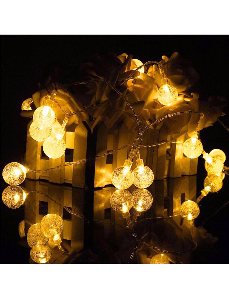 Solar Garden Lights -- Solar String Lights With 30 LED Fairy Bubble Crystal Ball Lights For Garden Decoration, 20ft Waterproof Solar Lights Outdoor Charged by Sunlight. (warm white)
