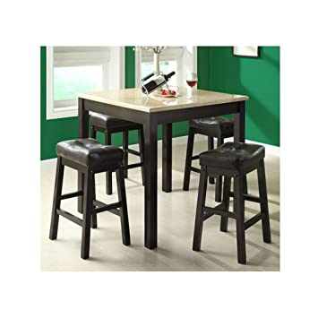 Monarch Specialties 5-Piece Faux Marble Counter Dining Set, Cappuccino/Beige