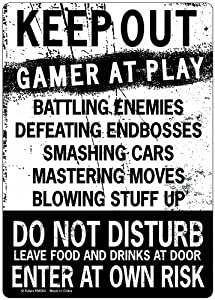 KEEP OUT Gamer At Play ENTER At Own Risk Funny Novelty Tin Sign