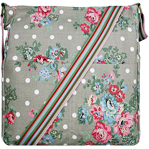Grey Floral Crossbody Messenger School Bag