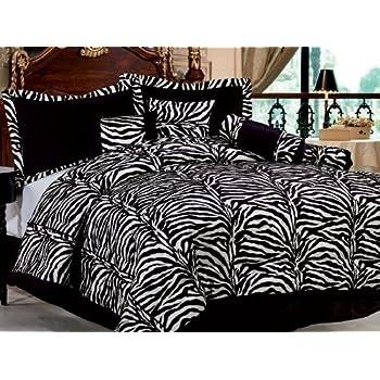7 Piece Short Fur Safari Zebra Print Bed-In-A-Bag Black & White Comforter Set, FULL Size Bedding