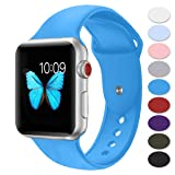 Misker Sport Band Compatible with Apple Watch 42mm 38mm, Soft Silicone Strap Replacement Wristbands Compatible with iwatch Sport Series 3/2/1 Sports and Edition (Color: blue, Tamaño: 38MM/40MM S/M)