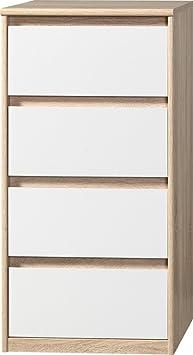 CS Schmalmöbel 75.012.051/21 Grifflose Kommode Soft Plus Smart Typ 21, 45 x 55 x 110 cm, eiche/weiß