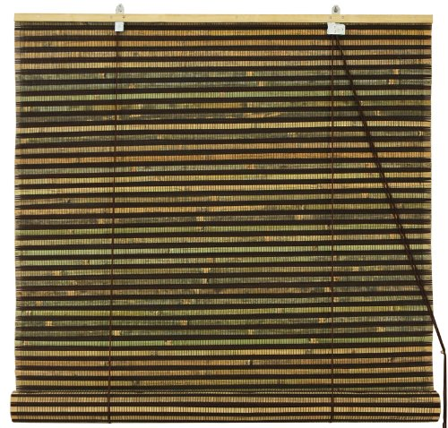 Burnt Bamboo Roll Up Window Blinds - Multi-Color Weave - 36