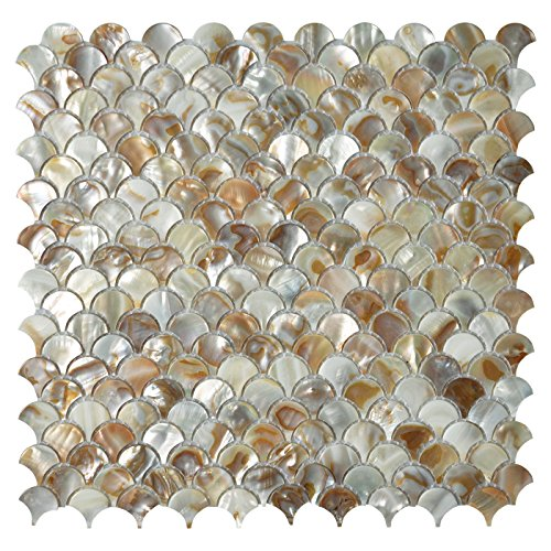 Art3d Mother of Pearl Colorful Bathroom Wall Panels Fan Shaped Fish Scale Mosaic Tile Honed 6 Sq Ft Pack of 6 (Mosaic Fish compare prices)