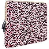 Laptop Sleeve, PLEMO MacBook Sleeve, Canvas Fabric 13 - 13.3 Inch Laptop Case Cover Bag for 12.9 iPad Pro / MacBook Air / MacBook Pro / Notebook / Ultrabook / Chromebook, Pink Leopard