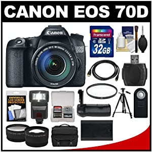 Canon EOS 70D Digital SLR Camera & EF-S 18-135mm IS STM Lens with 32GB Card + Case + Battery + Grip + Tripod + Tele/Wide Lenses Kit