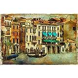 ArtzFolio Romantic Venice - Large Size 27.1 Inch X 18.0 Inch - FRAMED PREMIUM CANVAS Wall Artwork Digital PRINT...