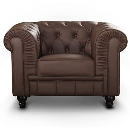 Fauteuil Chesterfield Marron