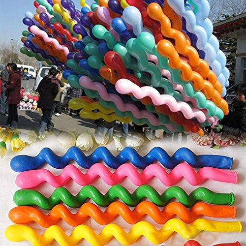 50 x Helium Latex Spiral Balloons Birthday Festival Party Decoration Mix Colors - 1
