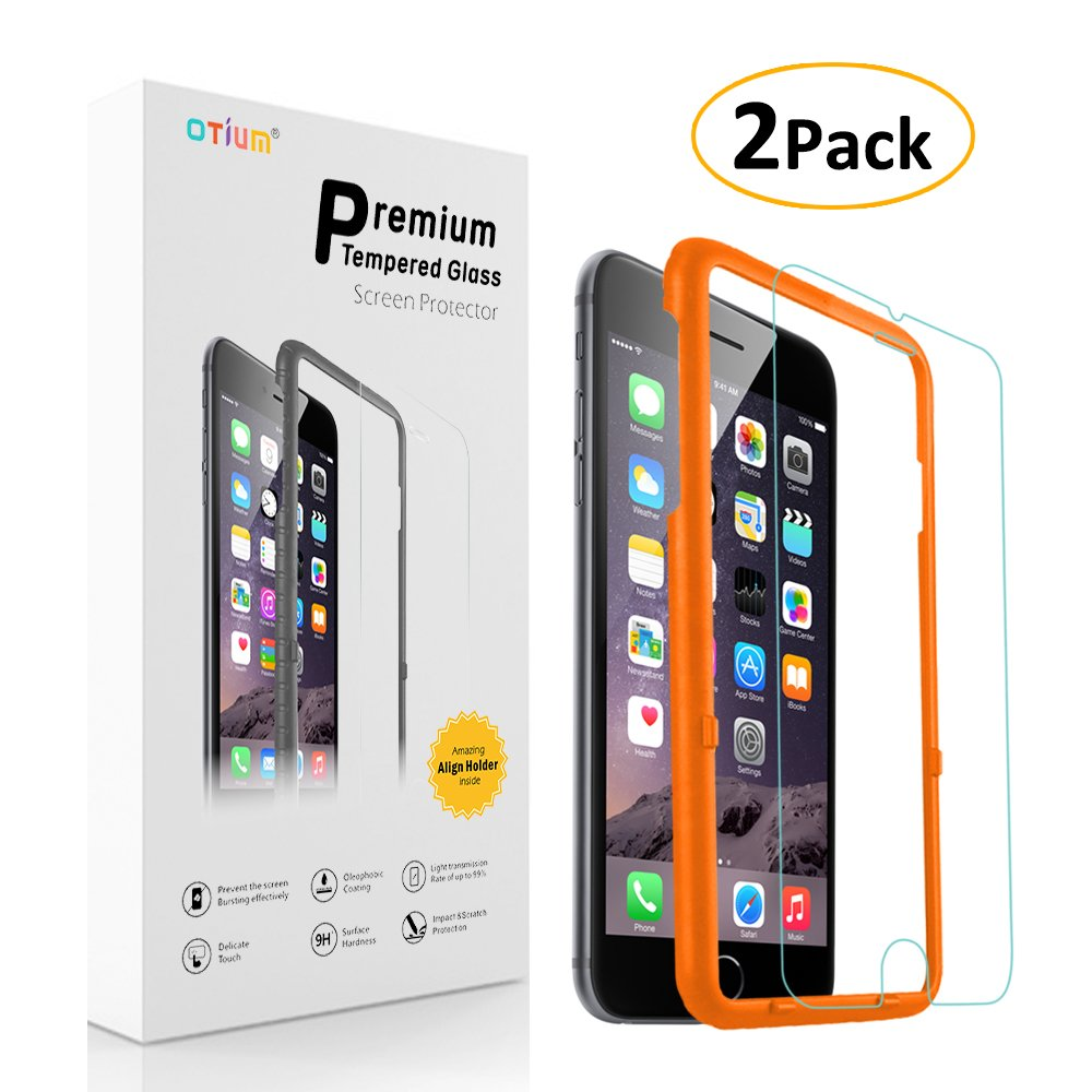 iPhone 6 6s Screen Protector (2-Pack) Otium Tempered Glass Screen Protector with Applicator HD Oleophobic Anti Scratch Anti Fingerprint, Round Edge Ultra Clear for iPhone 6 6s 4.7""