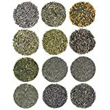 Loose Leaf Green Tea Sampler 12 Teas from Across the Globe, Exotic Japanese, China, and India Green Teas, 12-4oz Tins