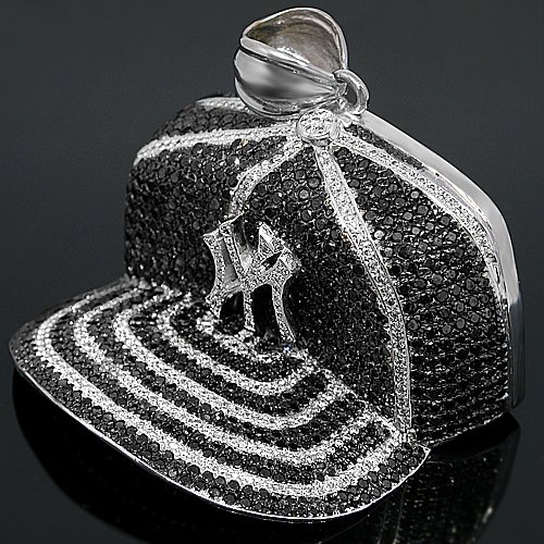 10K White Gold Mens Custom Diamond Baseball Hat