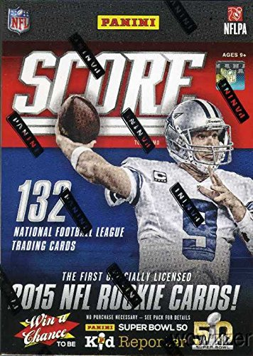 2015 Score NFL Football HUGE Factory Sealed Retail Box with 11 Packs and 132 Cards! Includes Guaranteed MEMORABILIA Card and over 30 Rookies and Insert Cards ! Look for Rookies and Autographs of Jameis Winston, Marcus Mariota and all Top NFL Draft Picks !