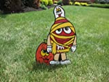 Unique Halloween Lawn Art Figure Red M & M Dressed As A Mummy With Silly Pumpkin & Ghost Handcrafted & Painted With Great Detail Metal Stakes And Wall Mount Included