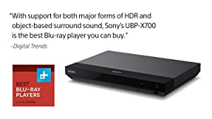 Sony UBP-X700 4K Blu Ray Player Ultra HD 3D Hi-Res Audio Wi-Fi and Bluetooth Built-in Blu-ray Player with A 4K HDMI Cable and Remote Control