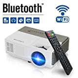 Pocket Bluetooth Wifi Wireless Mini Projector 1500lumen, HDMI Built-in Speaker Support 1080p HD Airplay Screen Mirror, Multimedia Digital Portable Video Projector for Gaming Basement Movie Art Tracing (Color: 1500 Lumens+ WIFI + Bluetooth)