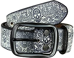 Heepliday Men's Colorful Halloween Style Leather Belt Large 34-36 Black Buckle Black Leather