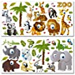 Wandkings WS-50031 Zoo Tiere Wandsticker, Megapack Set, 64-Aufkleber, Gesamtfl�che 260 x 70 cm