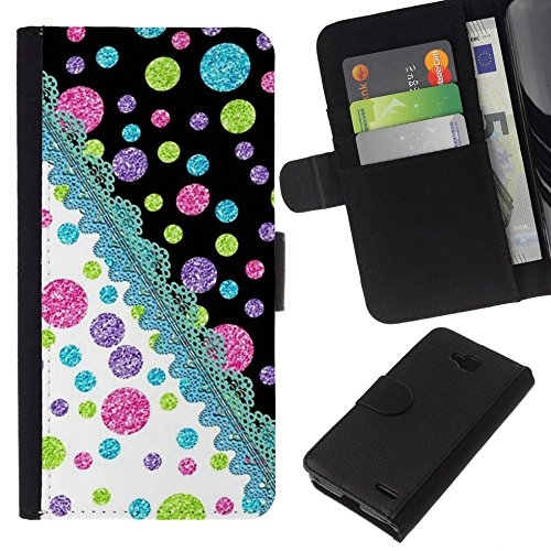 // PHONE CASE GIFT // Fashion Leather Wallet Case Stylish Credit Card & Money Pouch Protective Cover for LG OPTIMUS L90 / Dot Crocheted Teal Pink Lime /