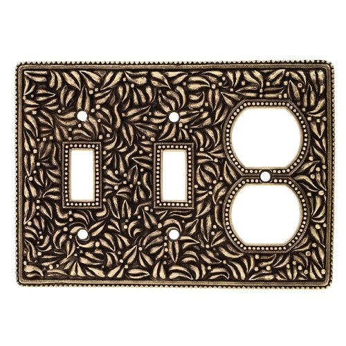 Vicenza Designs WPJ7006 San Michele Wall Plate with Jumbo Double Toggle Opening Polished Silver