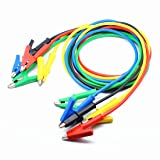 Oiyagai 5 Colors 4MM Dual Ended Alligator Clips Test Leads Length 1M Use for Multimeter or Laboratory Electric Testing Work (Color: Alligator-Alligator)