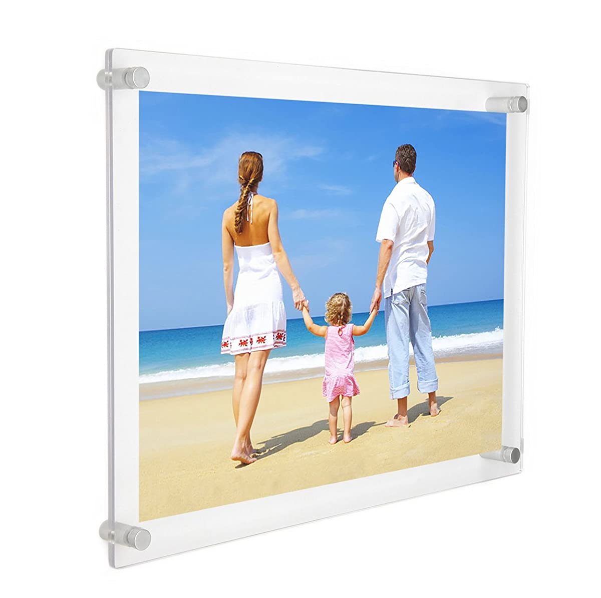 NIUBEE 11x14 Clear Acrylic Wall Mount Floating Frameless Picture ...