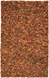 5' x 8' Hojas Rotas Orange, Red and Brown Hand Woven Ultra Plush Area Throw Rug