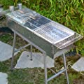"Party Griller 32"" x 11"" Stainless Steel Charcoal Barbecue Grill w/ 2x Stainless Steel Mesh Grate - Portable BBQ Kebab, Satay, Yakitori Grill. Makes Juicy Shish Kebob, Shashlik, Spiedini on the Skewer"